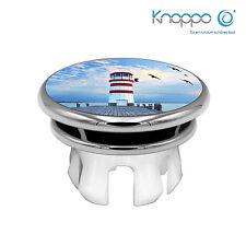 KNOPPO® Waschbecken Überlaufblende / Abdeckung - Mirror Leuchtturm Motiv (chrom)