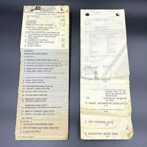 Vintage 1971 1972 US Army Materiel Command AMC Pamphlet 725-1 Req Codes BK18