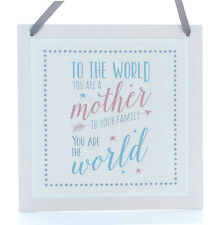 PINK Vintage Style WOOD Square To The World Mother Hanging Sign Plaque Gift
