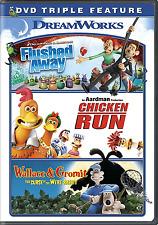 Flushed Away / Chicken Run / Wallace & Gromit Triple Feature [DVD, NEW]