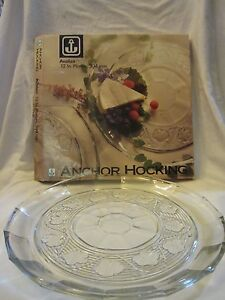 """Anchor Hocking Avalon Clear Glass Round 12"""" Platter Floral Embossed Pattern"""