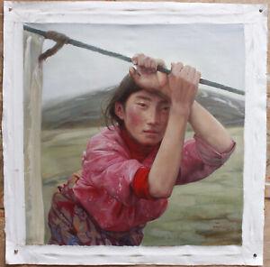 "Fine art original oil painting portrait of Tibetan girl in a short rest 20""x20"""