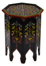 Moroccan Table Wood End Table Coffee Middle East Arabesque Handmade Black/Red