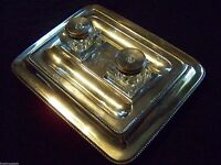 SHEFFIELD PLATE PARTNER'S INKSTAND WITH CUT CUBE GLASS / CRYSTAL WELLS - SUPERB