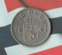 1901 Norway 10 Øre-- 40% Silver- Nice Shape Only 2 Million Minted~
