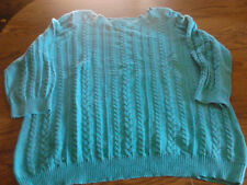 SIZE 1X CHAPS BLUE PULL-ON SWEATER