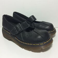 Dr Doc Martens Mary Jane Women's 8 Black Leather Flower Stamped Strap 12277