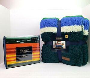 Pendleton Hazel Creek TWIN 3 Pc Flannel Sheet Set Evergreen Stripe TWIN Blanket