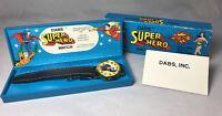 1977 DC Comics Dabs Superman Super Hero Large Watch Made In Switzerland Complete