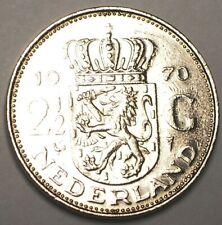 1970 Netherlands Dutch 2 1/2 Gulden Juliana Coin VF+