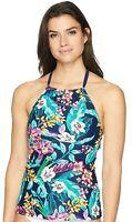 Coastal Blue Women's Swimwear Highneck Halter Tankini Top Strappy Back Medium