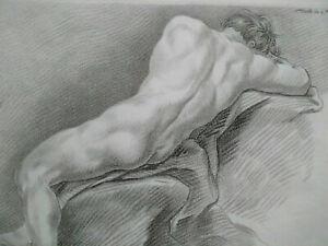 Rare gravure XVIIIème Colin de Vermont nu cahier académie homme Bonnet