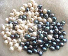 wholesale 50pcs freshwater pearl black white beads 10-13mm nature egg big hole