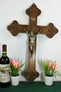 Antique XL  Dutch Frisian Wood carved wall crucifix cross religious christ