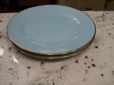 NORITAKE HAND PAINTED CHINA  2) PLATES 7.5/8' TURQUOISE WITH GOLD TRIM