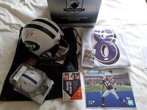 NFL SIGNED WAYNE CHREBET FOOTBALL HELMET LAMAR JACKSON JACOB EASON CHRIS HOGAN