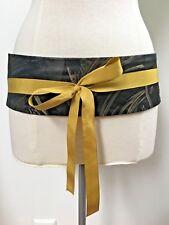 DRIES VAN NOTEN black gold print obi wrap belt size small