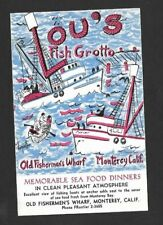 Vintage Postcard Lou's Fish Grotto Fisherman's Wharf Monterey CA c1950s Unposted