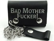 Mens Biker Leather Chain Wallet - Bad Mother - USA MADE by Americans