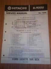 Hitachi Service Manual~D-900U Cassette Tape Deck/Player~Original Manual