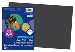 SunWorks Heavyweight Construction Paper, 18 x 24 Inches, Black, Pack of 50
