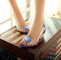 Womens Clear Peep Toe Rhinestone Flower Wedge Heels Slingback Shoes Sandals size