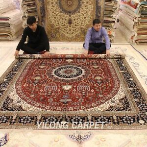 Yilong 8'x10' Floral Hand Knotted Silk Carpet Medallion Handmade Area Rugs 185B