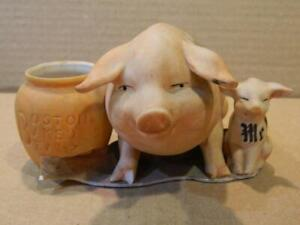 "Pig & Piglet Boston Baked Beans Match Holder ""Scratch My Back - Me Too"" Germany"
