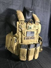 BACK IN STOCK- Tactical Vest COYOTE Tan Plate Carrier W/ 2 Curved PLATES