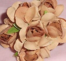 TAN millinery Vintage style 6 silk ROSE fabric flowers pick ALEXANDER dolls