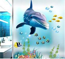 Wall decal Sticker Dolphin 3D living room bedroom Bathroom Toilet Children Kids
