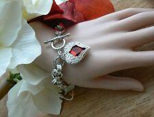 Silver Angel Wing RED HEART BRACCIALETTO regalo per la sua insolita Moglie Fidanzata Amore