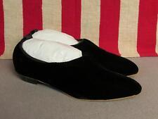 Vintage 1960s Js Raub Shoes Black Satin Flats Sz 6 Plush New Nos w/Box Mod