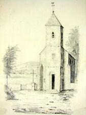 Original Dessin Mine de Plomb Eglise de Thoraize par Felix Benoist Daté 1860