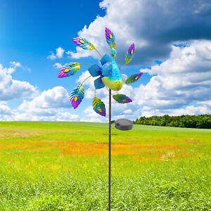 Windmill Solar Wind Spinner Peacock Sculpture Decorative Yard Patio Decor