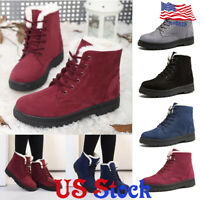 Women Faux Suede Lace Up Ankle Boots Winter Warm Fur Lined Flat Snow Work Shoes