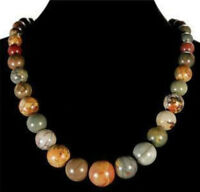 Natural 6-14mm Multicolor Picasso Jasper Round Gemstone Beads Necklace 18''