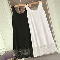 Vest Lace Dress Render Extender Long Tank Tee Cotton Top Sleeveless Trim Layer