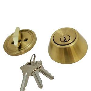 New DeadBolt Lock Entry Keyed Cylinder 3 Key Exterior Interior Sc1 Satin Brass