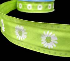 2 Yards Lime Green White Daisies Daisy Flowers Glitter Polka Dot Wired Ribbon 1