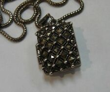 925 Sterling Silver Locket Necklace with Square Marcasites 177-Q