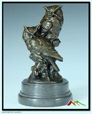 Bronze sculpture two owls Statue signed Milo