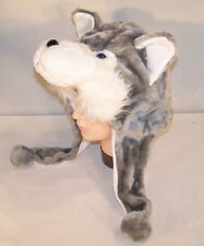 WOLF PLUSH ANIMAL HAT soft warm earmuff cap DOG novelty headwear costume hats