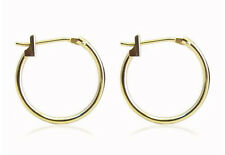 14K Yellow Gold Hoop Earrings Plain Round Hoops 16 x 1.25mm Classic 100% 14K