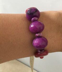 Genuine Amethyst, Pink Jade & Copper BARSE Bracelet MSRP $85