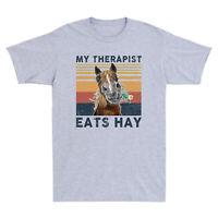 Horse My Therapist Eats Hay Funny Vintage Men's T-Shirt Cotton Sport Grey Tee