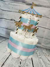 2 Tier Diaper Cake - Carousel Merry Go Round Theme - Neutral Blue Pink Gold