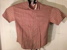 Tommy Hilfiger Man Size Medium Short Sleeve Plaid Red/Tan Linen & Cotton Fabric