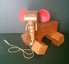 Vintage Wooden Pullalong toy Elephant    Unique and adorable