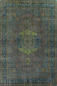 Antique Overdyed Floral Kashmar Handmade Area Rug Evenly Low Pile Carpet 10x13